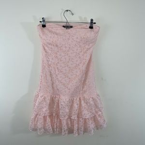 Pink Lace Strapless Suzy Shier Dress